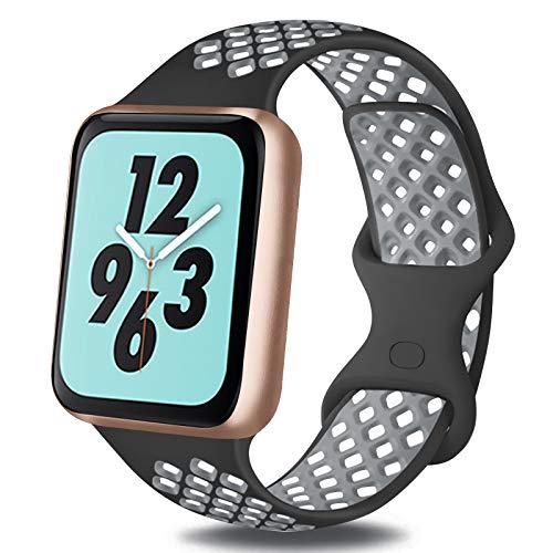 OBABA Silicona Correa Compatible con Apple Watch 44mm 42mm 40mm 38mm,Pulseras de Repuesto Deportivo Transpirable Suave Silicona para iWatch Series 6 5 4 3 2 1 SE(42mm/44mm M/L,Negro Gris)