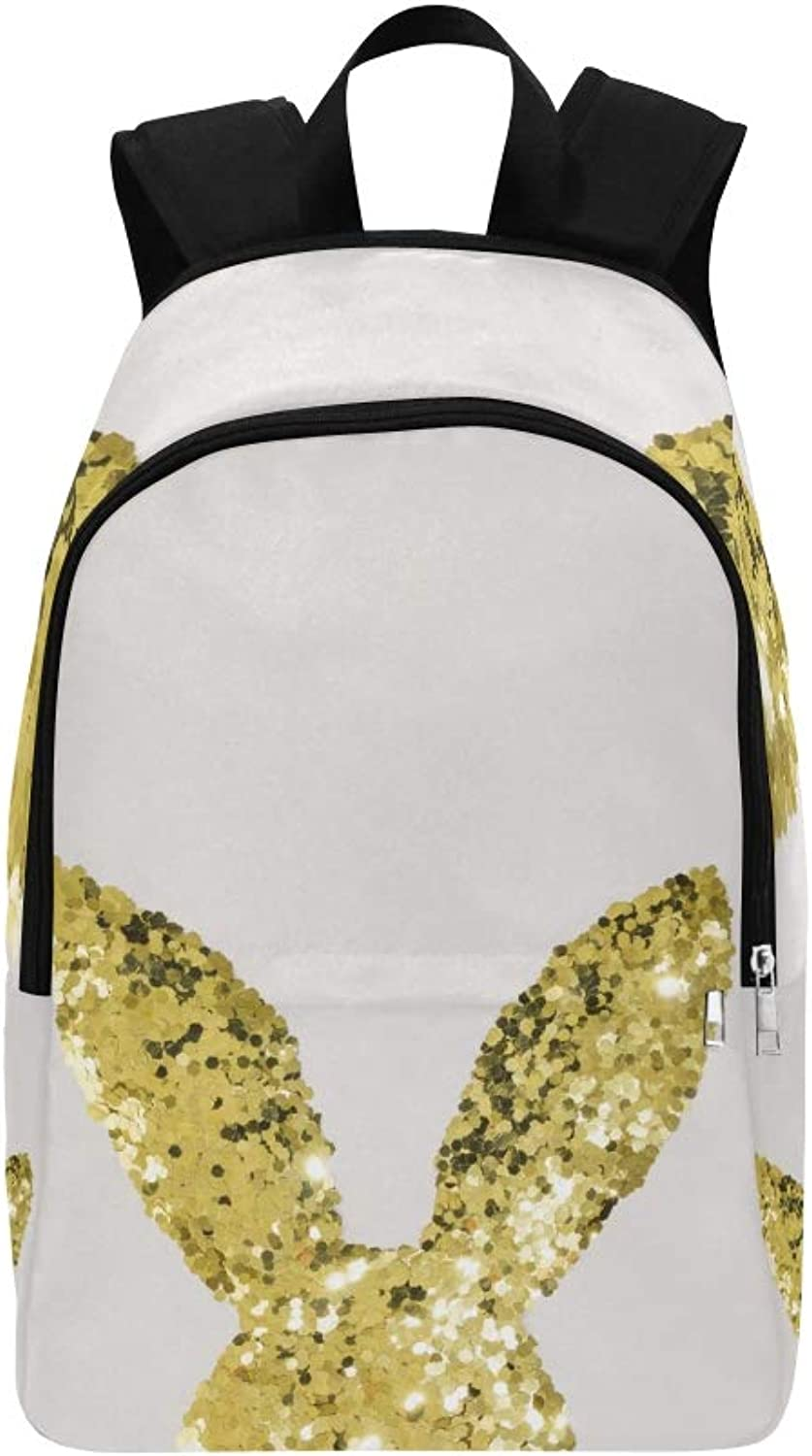 Easter Bunny Rabbit Made gold Glitter Casual Daypack Travel Bag College School Backpack for Mens and Women