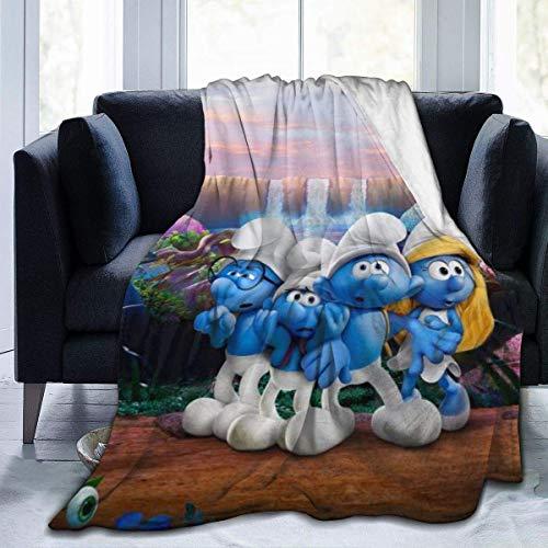 The Smurfs Flannel Blanket Manta De Microfibra De Felpa Cálida Súper Suave Y Cómoda.