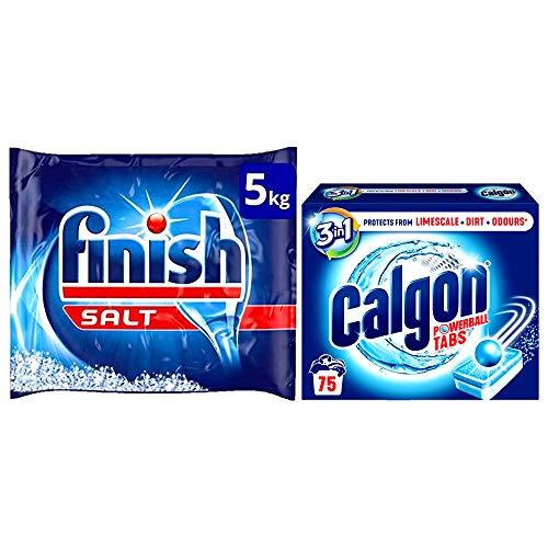 Finish Dishwasher Salt 5kg and Calgon 3-in-1 Washing Machine Water Softener 75 Tablets