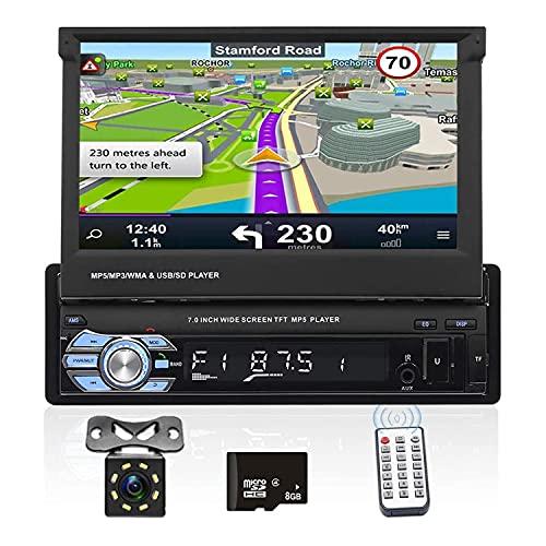 Podofo Autoradio Bluetooth 1 Din HD 7 Pollici Touch Screen, Navigation GPS Stereo per Auto,Auto Stereo MP5 Lettore supporto FM AUX USB TF card + Rear View Fotocamera + telecomando