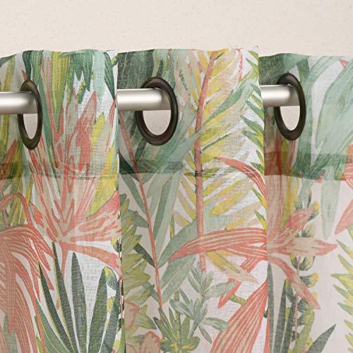 SCHÖNER LEBEN. Cortina con ojales, estructura de lino, estampado de hojas de palmera, color blanco, verde, coral, beige, 135 x 260 cm