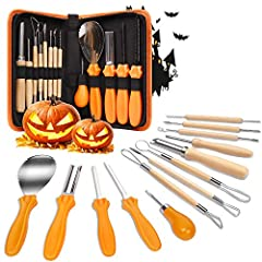【13 Pieces Pumpkin Carving Kits】This high-quality professional Halloween pumpkin carving tools kit includes 6 double-sided stainless-steel detail carving, cutting and engraving tools, 2 sharp heavy-duty stainless steel pumpkin shovel tools with scrap...