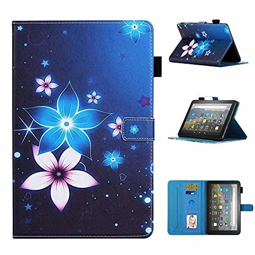 Funda para HD 8 2020 Robusta, Funda con función atril para tablet con función de despertador/sueño automático, resistente a los golpes, funda trasera (flor azul)