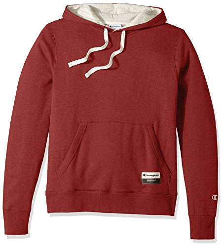 Champion Men's Authentic Originals Sueded Fleece Pullover Hoodie, Carmine Red Heather, Large