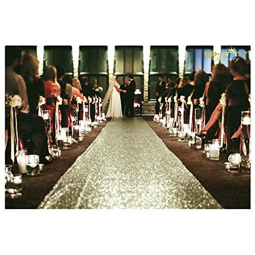 ShiDianYi Sequin Aisles Floor Runner-Matte Gold 4FTX15FT Wedding Aisle Runner