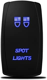 MICTUNING 5pin Spot Lights Rocker Switch ON-OFF Dual backlit LED Blue for Off-road SUV Truck Pickup Boat Caravan