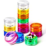Sieral 2 Pieces 7 Day Stackable Pill Organizer Case Vitamin Holder Organizer 7 Day Weekly Travel Container with 2 Lids for Medications, Vitamins and Supplements (Rainbow Color)