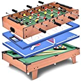 GOPLUS 4 in 1 Multi Game Table - Football, Billiards, Table Tennis and Hockey, Fun Table Sports for Kids, Complete Accessories, Made of Wood, 81.5 x 43 x 24 CM