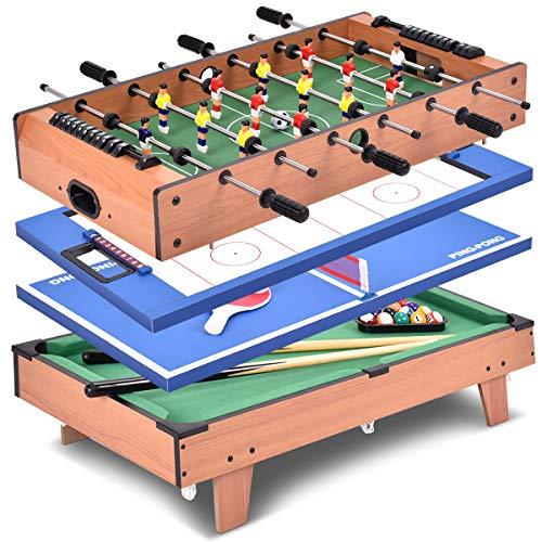 Goplus Tavolo Multigioco 4 in 1 Calcetto Balilla da Tavolo con Tavolo Biliardo, Ping Pong, Calcio, Hockey ed Accessori, in Legno