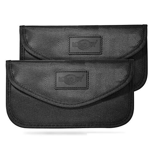 MONOJOY Keyless Go Schutz Autoschlüssel Faraday Tasche, RFID Funkschlüssel Abschirmung Schlüsseltasche, Auto Blocker Faraday Schlüsseltasche Strahlenschutz Tasche Blocking Hülle… (2X)