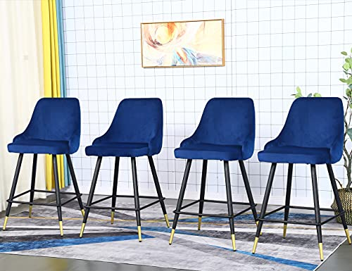 Velvet Bar Stools Set of 4, Upholstery 26 Inch Counter Height Chairs Stools with Back,Arm and Footrest,Classic Velvet Bar Stools for Kitchen Counter Island,Pack of 4 Pieces (Blue)