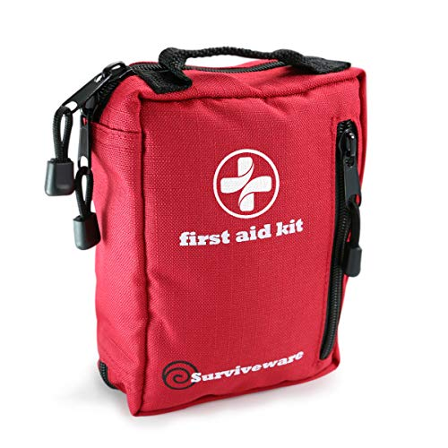 Surviveware Small First Aid Kit for Hiking, Backpacking, Camping, Travel...