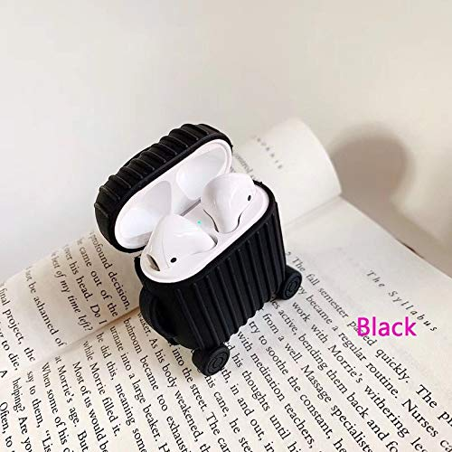 Nett Lightness Airpods Case, Cute Suitcase Airpods Case Cover, Silicone Airpods Protective Cover for Airpods1/2 gift (Color : Black, Size : Airpods1/2)