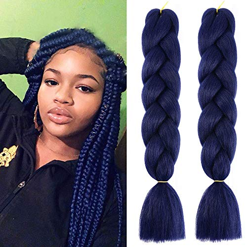 MSCHARM 5 Packs Synthetic Braiding Hair Extensions Fold 24 Inch Ombre Jumbo Fiber Braiding Hair Extensions for Daily Life or Party Use(Dark Blue)
