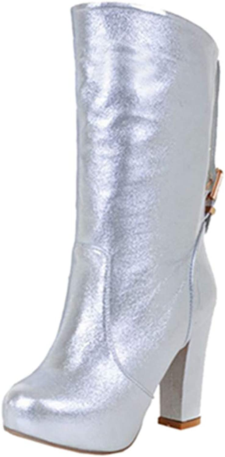 Smilice Women Sexy Mid Calf Boots