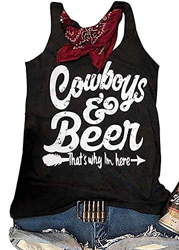 BANGELY Country Music T Shirt Cowboys Beer That's Why I'm Here Tank Tops Women Letter Graphic Racerback Casual Drinking Tees