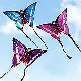 XQDSP C Butterfly Kite - Butterfly Purple - Drachen für Kinder ab 3 Jahren inklusive Flying Line - mit Schwänzen,Pink