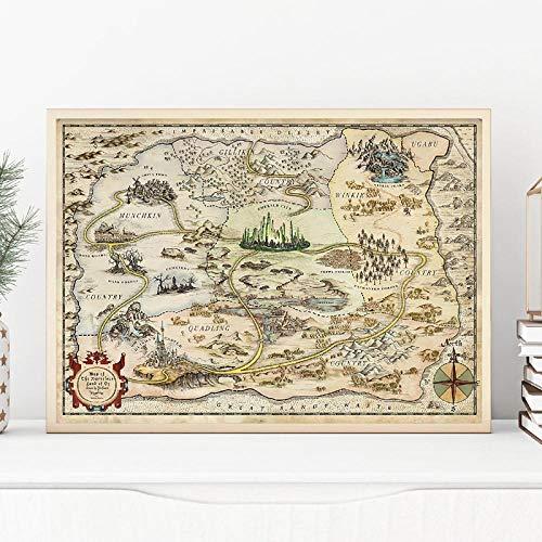 zuomo Mapa de Ruta de la Selva Aventura Libro de Cuentos impresión Arte Lienzo Pintura Cuadros de Pared para Carteles habitación estética Regalo Decorativo 50x70cm sin Marco
