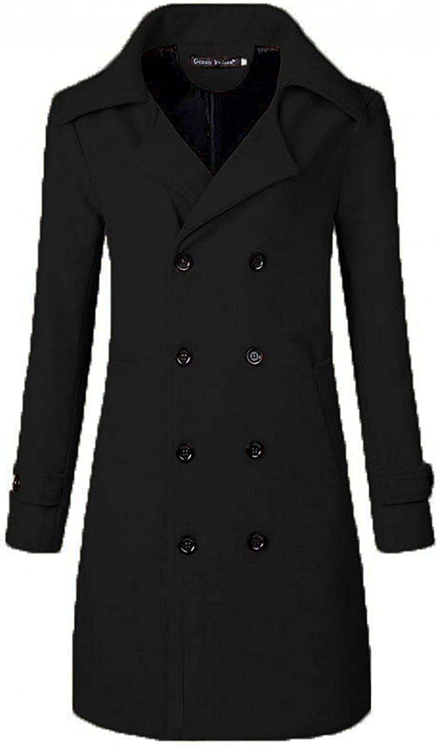 XUNFUN Mens Long Trench Coat Slim Fit Double Breasted Notched Lapel Winter Warm Woolen Blend Pea Coats Business Overcoat