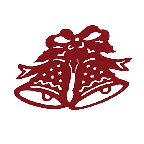 B Blesiya 50 st julklocka platskort julbord bröllopsdekoration – röd