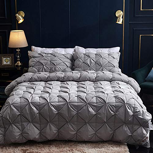 CHOU DAN Soft As Silk Duvet,Duvet 95 White Goose Down Thickened Winter Quilt Warm In Winter Single Double Quilt Spring And Autumn Quilt-160x210cm 3500g_light Grey