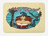 ABAKUHAUS Víspera de Todos los Santos Tapete para Baño, Pop Art Bruja con un Bate, Decorativo de Felpa Estampada con Dorso Antideslizante, 45 cm x 75 cm, Amarillo pálido y Multicolor