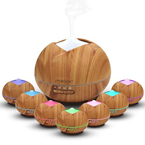 MEIXX diffuseur huiles essentielles Electrique (400ml), Parfum Aromathérapie Humidificateur Ultrasonique pour Spa, Yoga, Maison, Silencieuse 7-Couleurs Changeantes, 4 Réglages de Temps