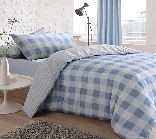 Sleepdown Trending Exclusive GINGHAM Blue Check Stripe Reversible Duvet Cover Quilt Bedding Set with Pillowcases - Double (200cm x 200cm)