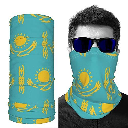 SD3DPrint Unisex Sturmhaube mit Kasachstan-Flagge, Gesichtsschal, Kopfbedeckung, Halstuch, Staubmaske, Sonne, UV-Staub, winddicht, 2 Stück