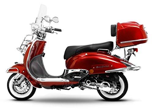 Retro Roller Easy Cruiser Chrom 25 km/h Mofa 50 ccm weinrot Motorroller Scooter Moped Easycruiser rot
