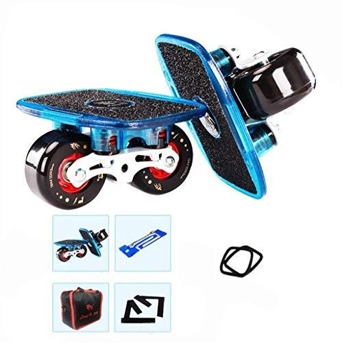 JXXU Tragbare Roller Straße Drift Skates Platte mit Aluminiumlegierung Deck und PU-Räder 608 ABEC-7 Bearings Split Skateboard Extreme Skate-Sport for Kinder Erwachsene (Color : Blue)