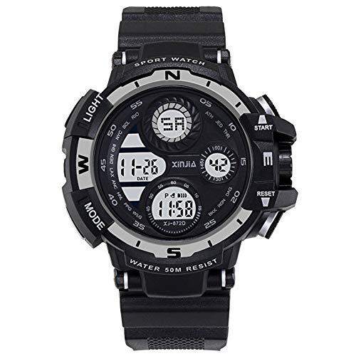 XIN Reloj del ejército Impermeable Multifuncional Luminoso Tendencia Reloj electrónico de los Hombres del Reloj de los Deportes de los Hombres (Blanco y Negro)