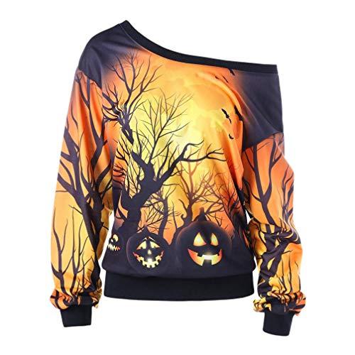 VEMOW Custume Damen Halloween Party Skew Neck Herbst Frühling Kürbis Print Casual Party Täglich Sport Sweatshirt Jumper Pullover Tops(Schwarz, 42 DE/M CN)