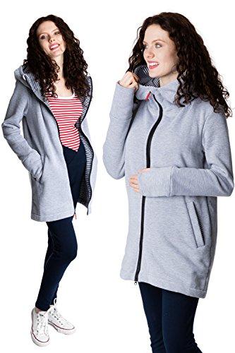 GoFuture Damen Tragejacke für Mama und Baby 4in1 Umstandsjacke Känguru Jacke aus Sweatstoff Verschiedene Modelle (L, Hellgrau mit Marine-weißen Streifen Ovita)