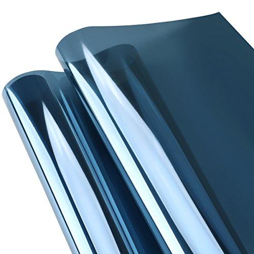 LC&TEAM Spiegelfolie selbsthaftend Sonnenschutzfolie Sichtschutzfolie Verdunkelungsfolie Spiegel Fensterfolie Tönungsfolie Wärmeisolierung UV-Schutz Fenster Folie Blau 45 x 200 cm