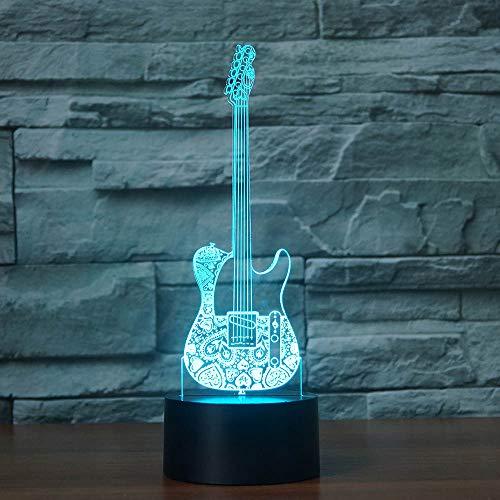 3d Guitarra óptico Illusions lámpara 7colores Interruptor táctil Illusion Luz nocturna para dormitorio Home Decoration boda Navidad Valentine regalo de cumpleaños
