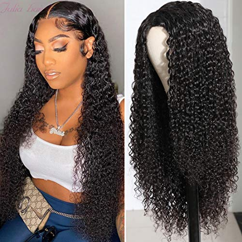 Julia 10A Malaysian Curly Lace Closure Human Hair Wigs for Black Women , Unprocessed 100% Human Hair Silk Base Fake Scalp Wigs T Part Lace Closure Wig Pre Plucked with Baby Hair 150% Density Natural Black Color 18inch