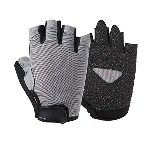 Guantes medio dedo deportes al aire libre del montar a caballo Hombres Mujeres de la aptitud antideslizantes guantes sin dedos transpirable de protección solar protectora ( Color : Gray , Size : XL )