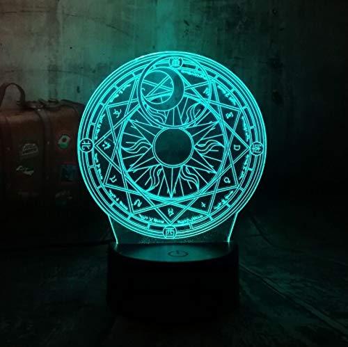 Neue hübsche Cartoon Magic Array 3D LED Nachtlicht 7 Farbwechsel Tischlampe Home Room Decor Urlaub Weihnachtsgeschenk für Kinder Controller 7 Farbe