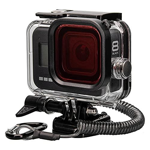 Lammcou wasserdichte Schutzgehäuse Case Set Kompatibel mit GoPro HERO8 Black, 60M Unterwasser Tauchen Gehäuse Housing & Rofilter & Trageband & Antibeschlagblatt & Halterunge für Hero 8 Accessories
