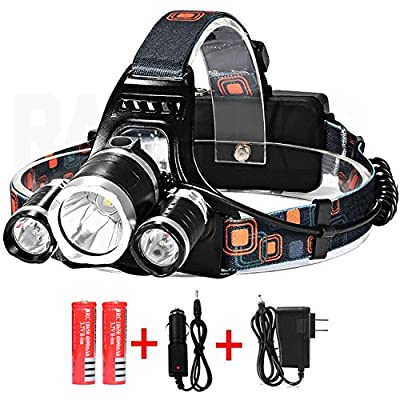 Vanitek LED Headlamp Headlight Flashlight of 5000 Lumens with Rechargeable Batteries & DC Wall/Car Charger   Cree T6 Super Bright 4 Modes Waterproof Torch for Hiking Camping Riding Fishing & Hunting