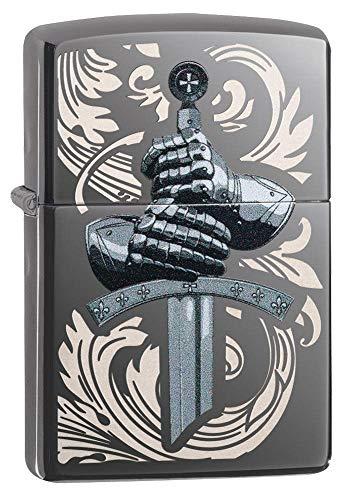 Zippo Unisex-Erwachsene Knights Glove Design Black Ice Pocket Lighter Feuerzeug, Einheitsgröße