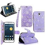 Alcatel Onetouch Pop Astro Case - Cellularvilla Pu Leather Wallet Flip Card Slots Open Pocket Case Cover Pouch For Alcatel onetouch Pop Astro 5042T (Purple Glitter)