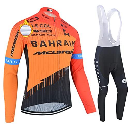 ASHBEIK Abbigliamento Ciclismo Uomo Invernale, Termico Vello Completo Maniche Lunghe Maglietta Manica da Uomo + 5D Gel Pantaloni Lunghi Set di Abbigliamento Ciclista