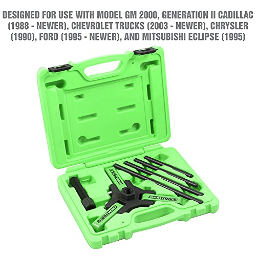 """OEMTOOLS 25090 Harmonic Balancer Puller Kit, Adjustable 3-Jaw Puller Fits Most Late Model Vehicles, Forcing Screw Fits a 3/8"""" Square Drive, Includes 4 Forcing Rods"""