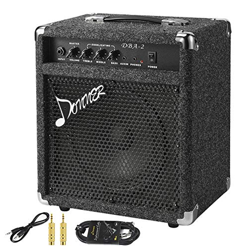 New Donner 25W Bass Guitar Amplifier DBA-2 Electric Practice Bass Combo AMP with Cable