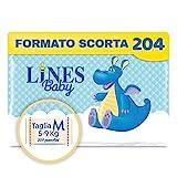 Lines Baby Medium, 204 Pannolini, Taglia 3 (5-9 Kg),Confezione Scorta Mensile
