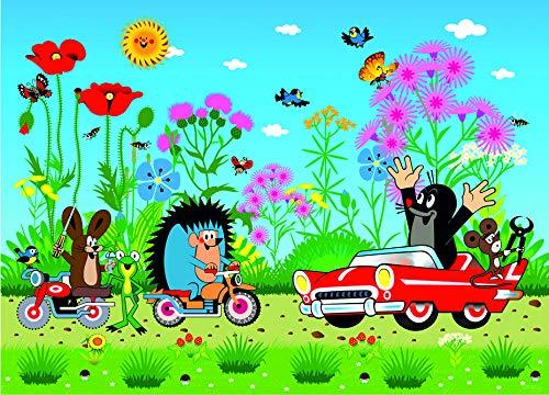 1art1 Der Kleine Maulwurf - Mole and His Car Vlies Wand-Foto-Poster-Tapete | Moderne Dekoration Wand-Deko Wohnzimmer Schlafzimmer Büro Flur 160 x 110 cm