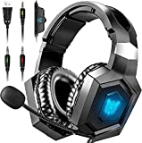 HERMEPER Gaming Headset Xbox One Headset with 7.1 Surround Sound, Stereo Gaming Headset with Mic Noise Cancelling, Ultra Soft Earmuffs, Over-Ear Headphones Compatible for PS4 PS5 Xbox One PC Laptop